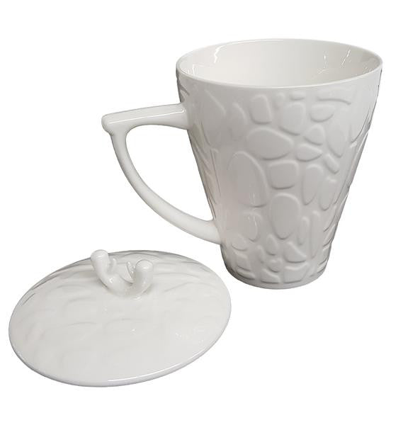 White Carved Tea Mug