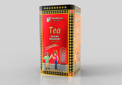 English Breakfast Tea - Tin Metal can With 15-Pyramid Tea Bag