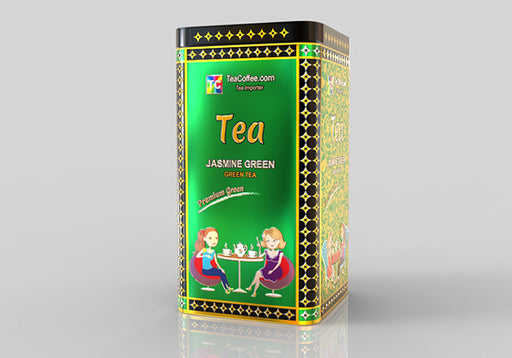 Jasmine Green Tea - Tin Metal can With 15-Pyramid Tea Bag