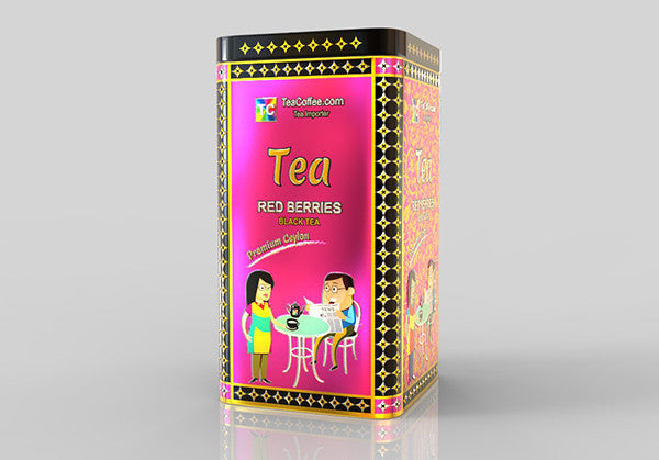 Red Berry Tea - - Tin Metal can With 15-Pyramid Tea Bag
