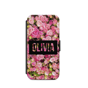 Personalised Name Rose Flowers A30 WALLET COVER CASE CARD HOLDER S9+S9/IPHONE X - EpicPhoneCase