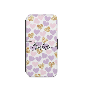 White Stripe Heart Personalized initial Flip wallet Phone case cover s7/s8/ A63 - EpicPhoneCase