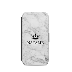 Personalised Name Crown Marble White A49 WALLET CARD HOLDER S9+S9/X - EpicPhoneCase