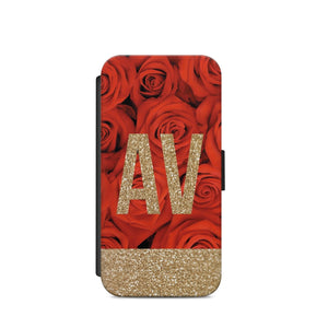 Personalised Initials Rose Flowers A28 FLLIP WALLET CARD HOLDER S9+S9/X - EpicPhoneCase