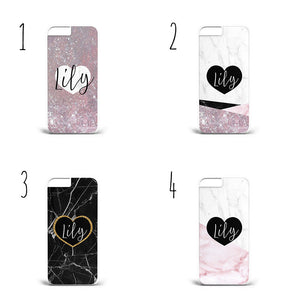 personalised name initials marble heart glitter A39 Phone Cover Case  iPhoneX/S9 - EpicPhoneCase