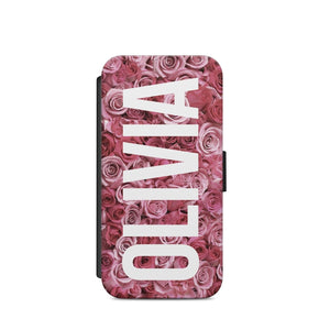 Personalised Initials Name Rose Flowers A27 FLIP WALLET CARD HOLDER S9+S9/X - EpicPhoneCase