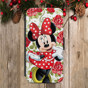 MINNIE MOUSE DISNEY  WALLET FLIP CASE COVER FOR IPHONE 7 AND SAMSUNG 7 EDGE