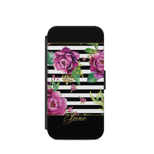 Personalised LUXURY Floral ROSE PATTERN CASE SUMMER Flip WALET CUSTOM INITIALS - EpicPhoneCase