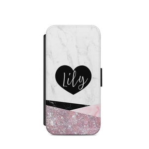 personalised name initials marble heart glitter A39 COVER Iphone/Samsug/S9/X/S8 - EpicPhoneCase