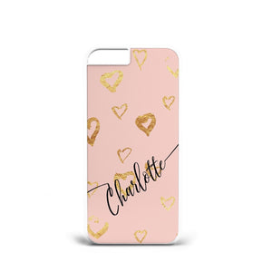 White Heart Personalised initial Hard plastic Phone case cover s7/s8/ A64 - EpicPhoneCase