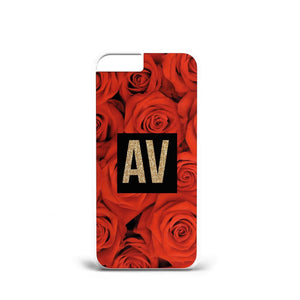 Personalised Initials Rose Flowers A28 PLASTIC Phone Cover Case for iPhoneX/S9 - EpicPhoneCase