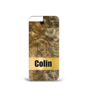 Personalised Name Initials Textur Wood A5 PLASTIC Phone Cover Case for iPhone X - EpicPhoneCase