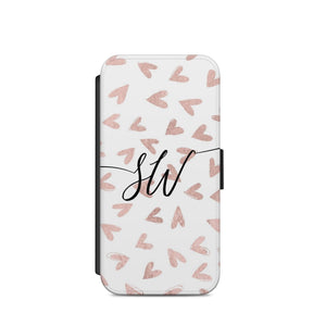 Rose Gold Heart Personalized initial Flip wallet Phone case cover s7/s8/ A61 - EpicPhoneCase