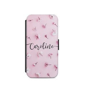PERSONALISED INITIALS FLIP WALLET CASE ROSE FLOWERS COVER SAMSUNG S7/S8/S9 + A73 - EpicPhoneCase