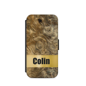 Personalised Name Gold wooden A5 FLIP PHONE CASE COVER WALLET CARD HOLDER S9 - EpicPhoneCase