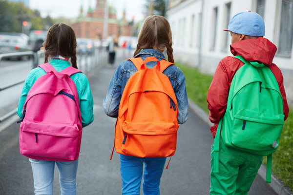 Kids walking with new colorful backpacks