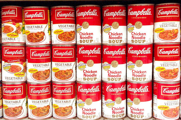 Campbells cans in a supermarket.