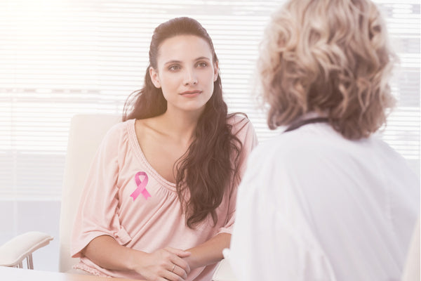 Female patient listening to doctor with concentration about breast cancer awareness