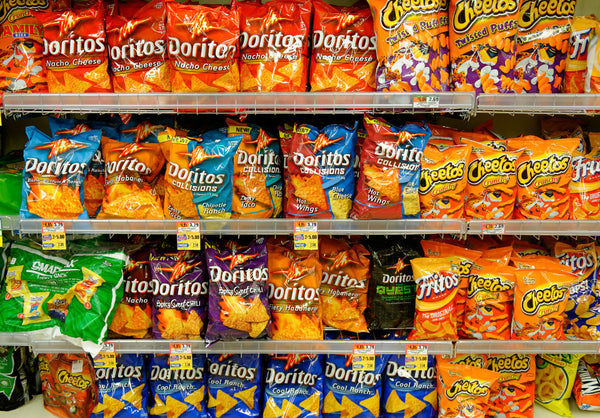 The chips section in a supermarket.