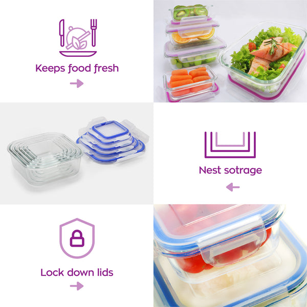 6+6 Popit! Glass Set - Airtight, Freezer & Oven Safe Borosilicate Glass
