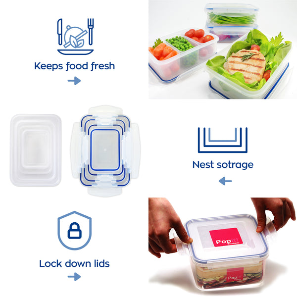 Square Food Container Meal Prep Set 4 x 2.4 Cup Containers