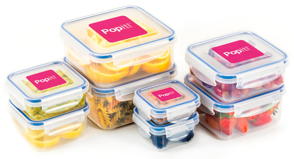 Popit! Food Storage Containers with Lids: The Little Big Box BPA Free Plastic Food Containers with Locking Lids for Meal Prep & Airtight Food Storage - Freezer, Microwave & Dishwasher Safe, Set of 8