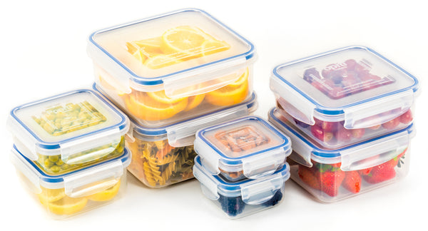 Plastic Food Storage Containers 16 Piece Set, Leak Proof, Kitchen Meal Prep,  - Microwavable, Freezer and Dishwasher Safe Portion Control Tupperware - Little Big Box, by Popit