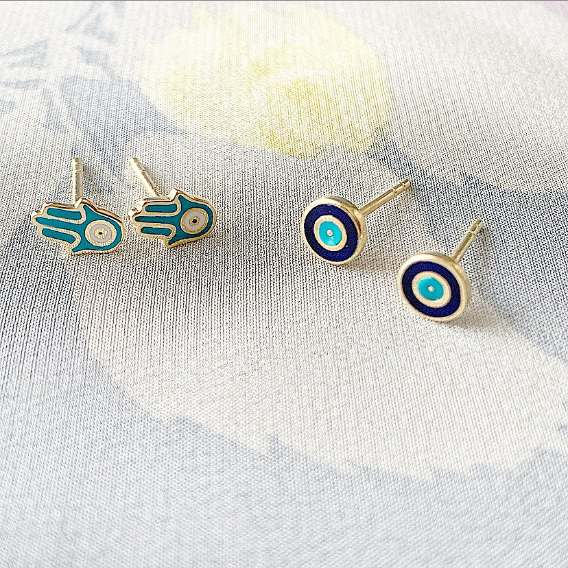 Delilah Enamel Evil Eye Stud Earrings | Navy | Gold Vermeil