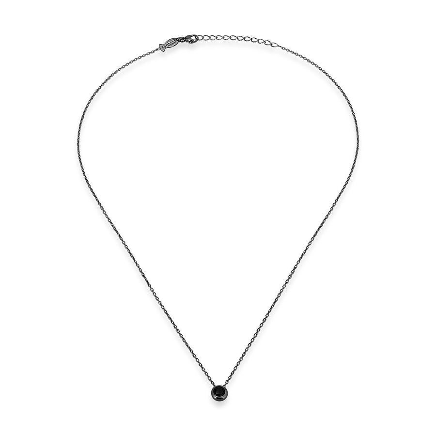 Black Single Diamond (Black Spinel) Glint Necklace (3mm)