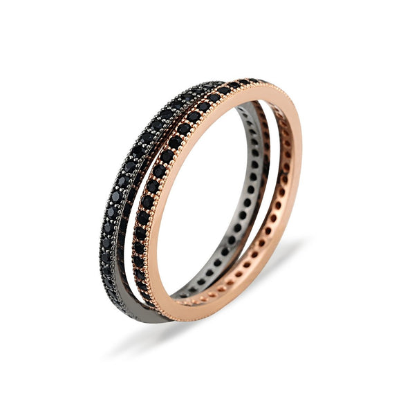 Black Spinel Eternity Band Ring