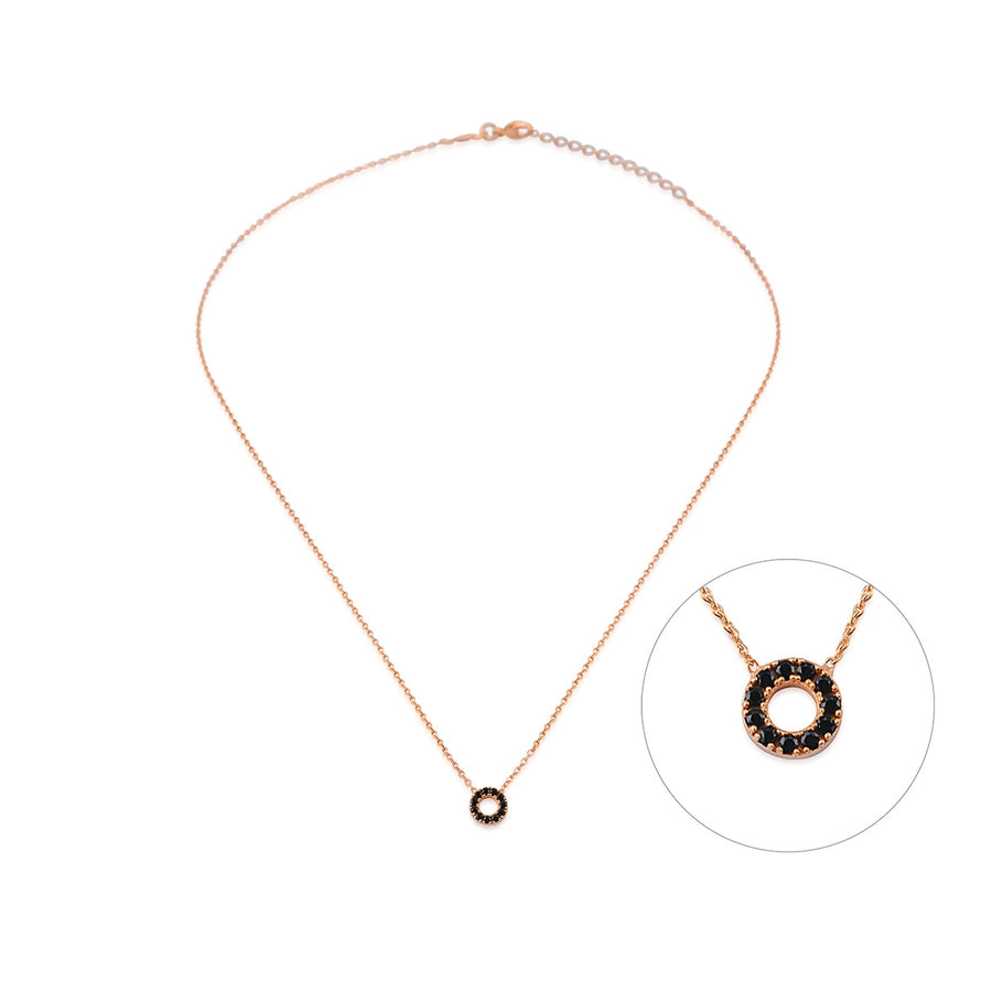 Mini Circle Necklace with Black Spinels