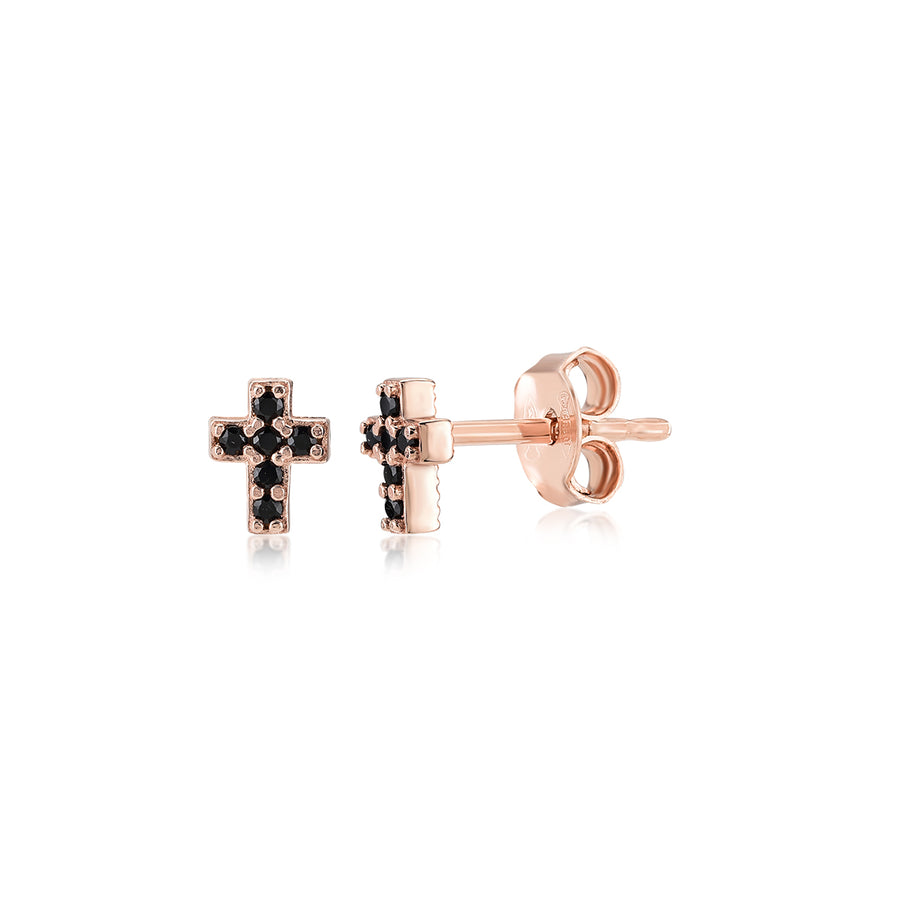 Mini Cross Earrings (with Black Spinel)