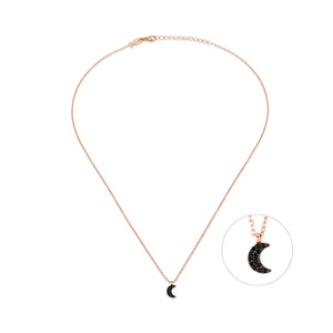 Little Moon Necklace (Black Spinel)