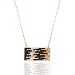 Bardot Rectangular Pave Necklace - Barcode | Gold Vermeil