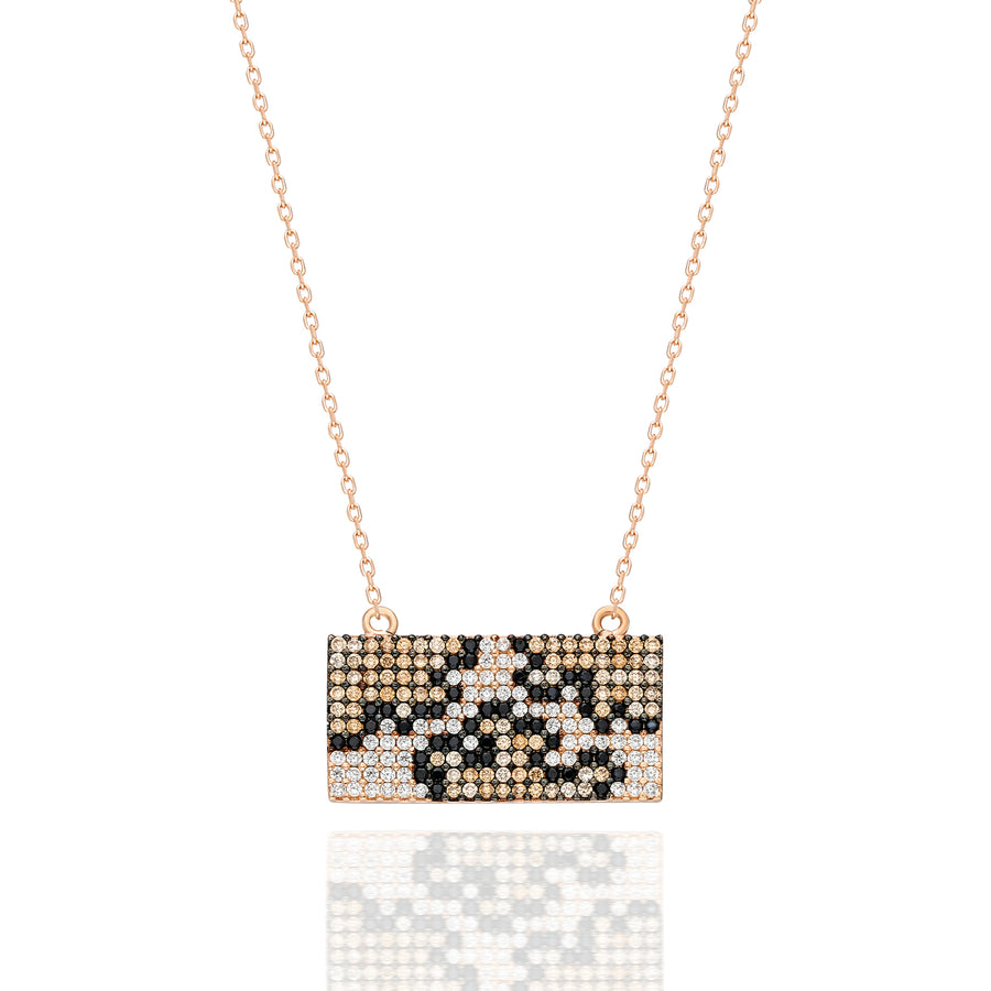 Bardot Rectangular Pave Necklace - Leopard | Gold Vermeil