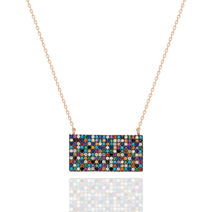 Bardot Rectangular Pave Necklace - Rainbow | Gold Vermeil