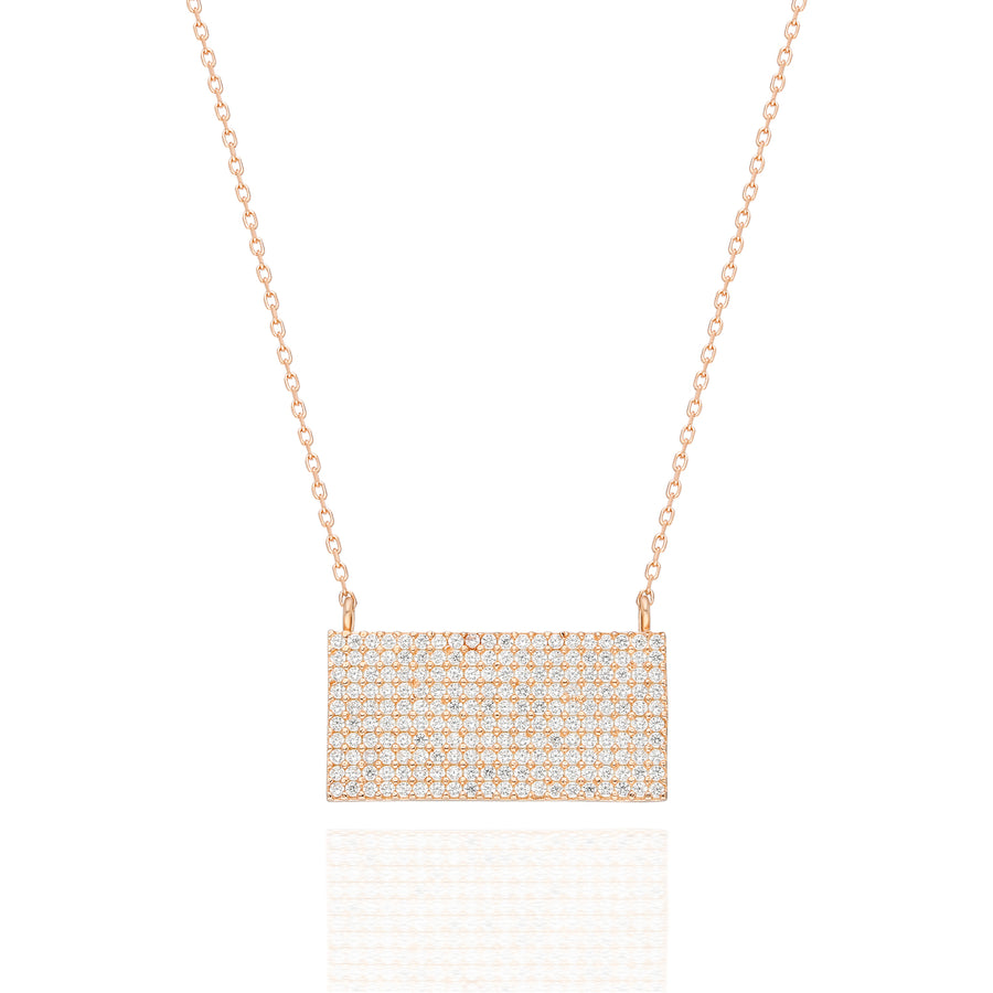 Bardot Rectangular Pave Necklace | Gold Vermeil