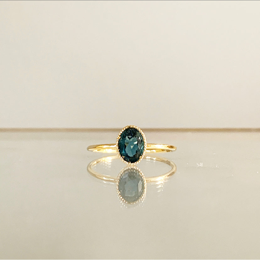 Sema Ring | 14k Gold and London Blue Topaz