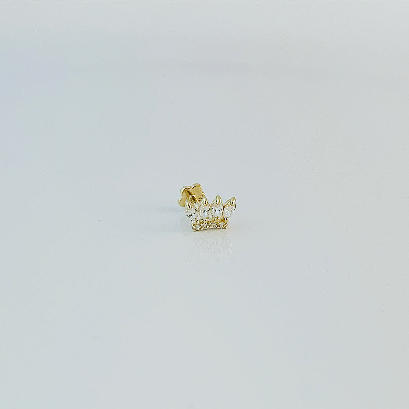 Baby Crown Single Stud | Oro 14k