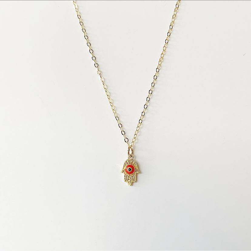 Diamond Mini Hamsa Necklace - Red | Gold Filled