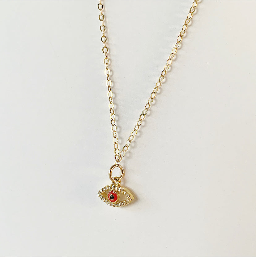 Diamond Mini Eye Necklace - Red | Gold Filled