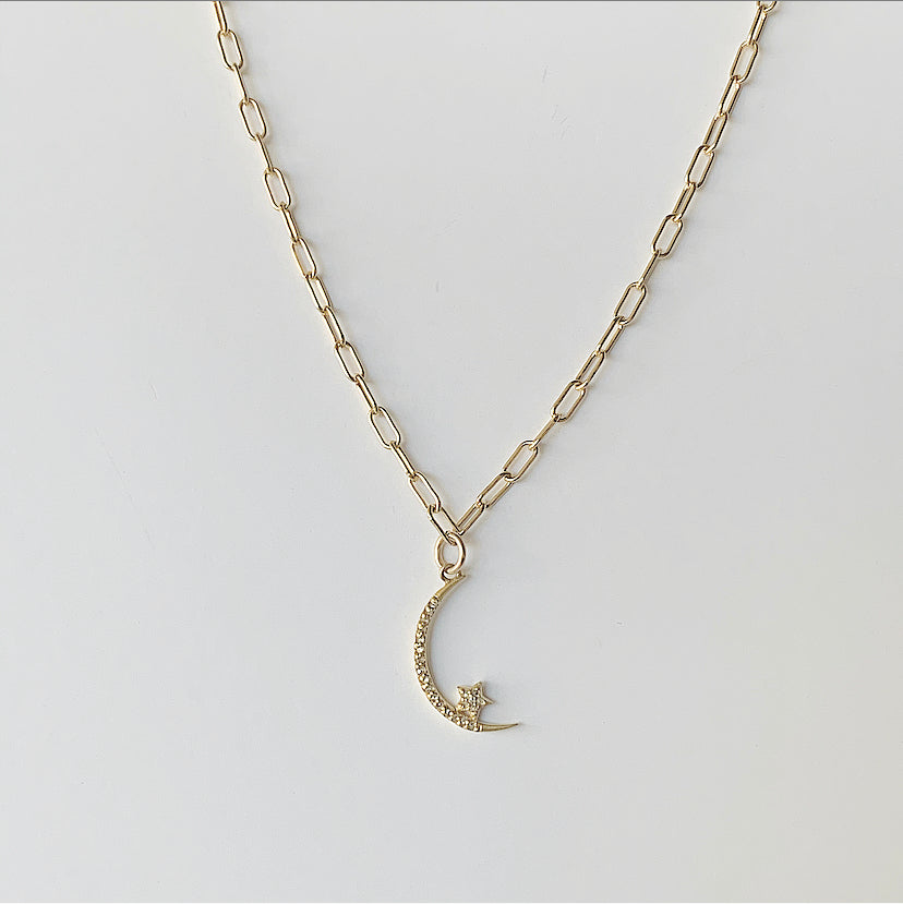Diamond Crescent Moon and Star Necklace | Gold Filled