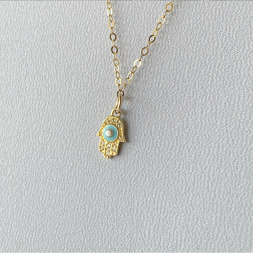 Diamond Mini Hamsa Necklace - Turquoise | Gold Filled