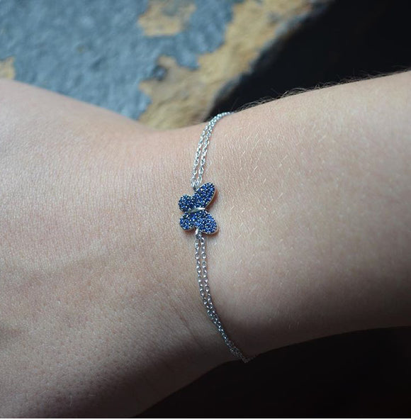 Blue Butterfly Bracelet with Chain