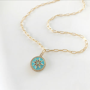Diamond North Star Necklace - Turquoise | Gold Filled