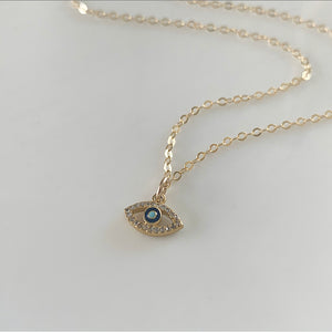 Diamond Mini Eye Necklace - Black | Gold Filled