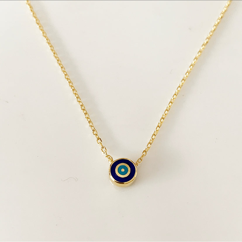 Delilah Evil Eye Necklace | Navy | Gold Vermeil