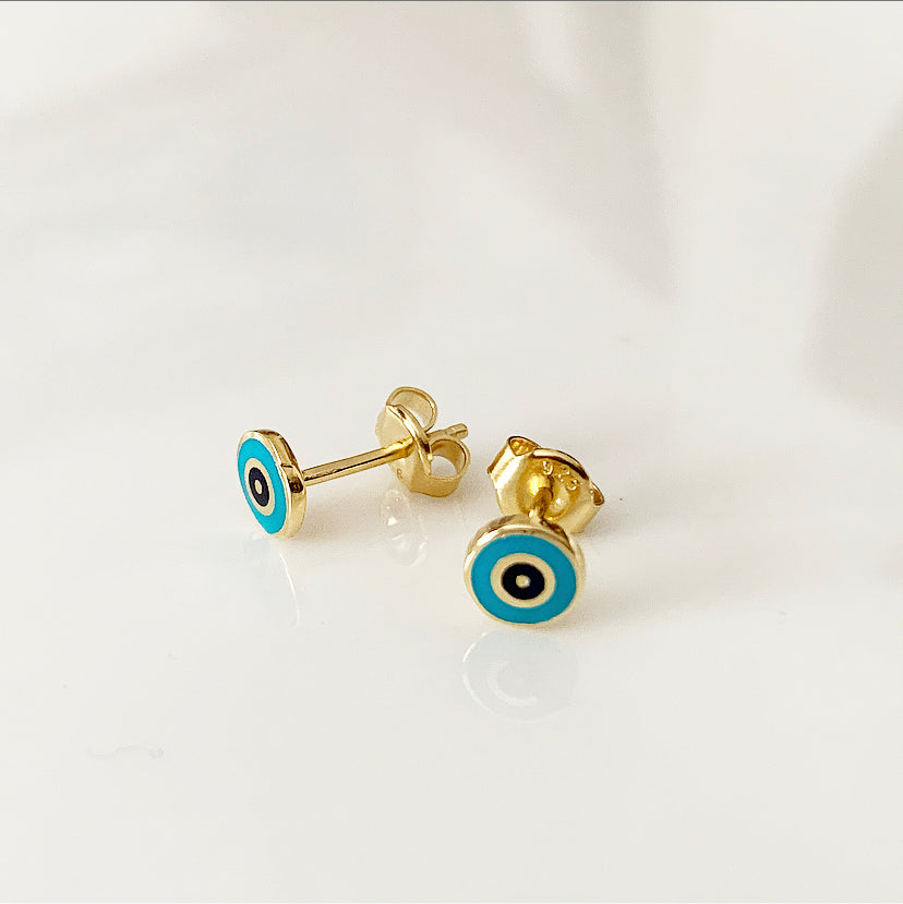 Delilah Enamel Evil Eye Stud Earrings | Turquoise | Gold Vermeil