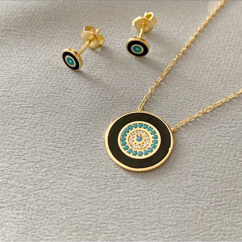 Enamel Nazar Necklace | Navy | Gold Vermeil
