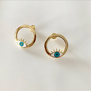 Art Deco Eye Stud Earrings | Gold Vermeil